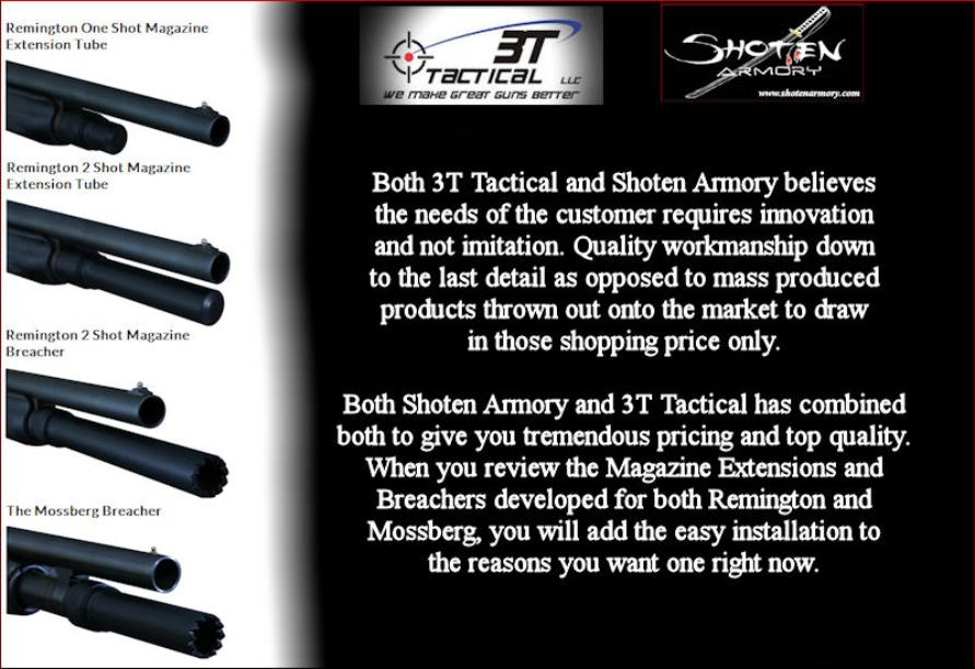 Shoten Armory - 3T Tactical Remington and Mossberg Shotgun Magazine Extensions and Breachers